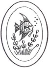 "L1004 4x6"" 5mm Oval Engraved FISH - Set of 4"