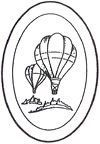 "L1009 4x6"" 5mm Oval Engraved HOT AIR BALLOON - Set of 4"
