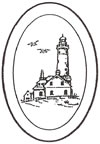 "L1010 4x6"" 5mm Oval Engraved LIGHTHOUSE - Set of 4"