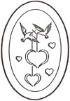 "L1012 4x6"" 5mm Oval Engraved HEART/DOVES- Set of 4"