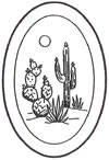 "L1014 4x6"" 5mm Oval Engraved CACTUS - Set of 3"